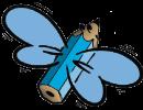 Flygande penna blå